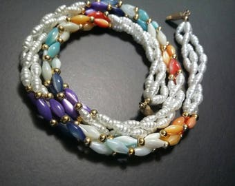Vintage freshwater pearl and mother of pearl multi strand and multi color necklace