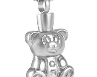 Teddy Bear Cremation Pendant-Cremation Jewelry, Urn Necklace, Memorial Jewelry, Necklace for Ashes, Keepsake Jewelry