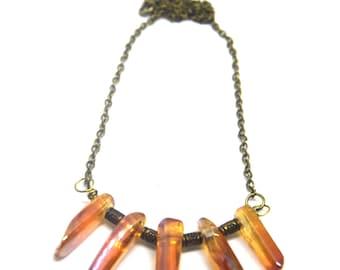 Crystal quartz necklace,Titanium Quartz, Boho necklace, Raw crystal necklace, Gift for her , Raw quartz jewelry
