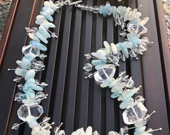 Beryl Aquamarine/Rock Crystal Clear Quartz Beaded Necklace. Healing Natural Gemstone Necklace.