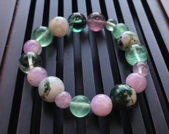 Moss Agate/Purple&Green Fluorite/Lavender Quartz Yoga Mala Bracelet. Healing Crystal/Natural Gemstone Bracelet.