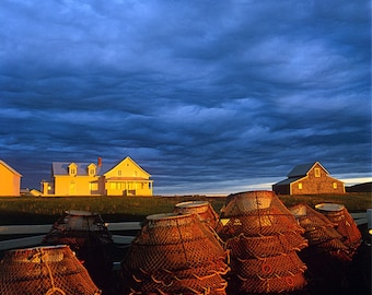 Crab pots, clouds and English home and his settlements, Rivière-la-Madeleine, Gaspe Coast