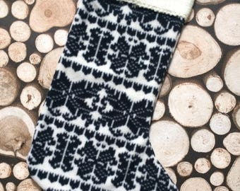 Hand sewn/upcycled/recycled/black and white/Nordic Christmas Stocking