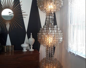 Vintage Mid Century Capiz Shell Chandelier, floor to ceiling, extra large