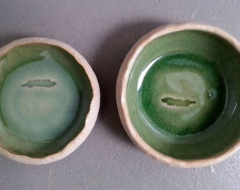 Ceramic feeding bowls for small cats dogs 1 pair