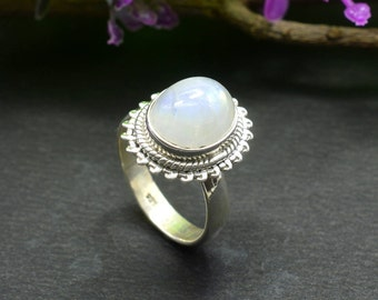Natural Rainbow Moonstone Oval Gemstone Ring 925 Sterling Silver R646