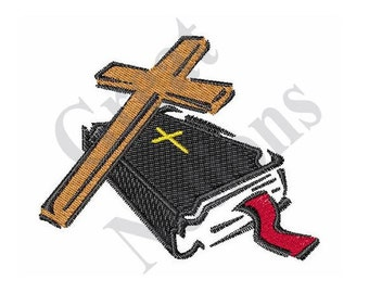 Small Bible And Cross - Machine Embroidery Design