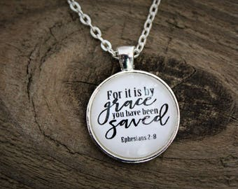 "Silver ""Ephesians 2:8"" Pendant Necklace"