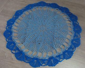 Handmade lace doily, blue and round roy, diameter 45 cm, crochet