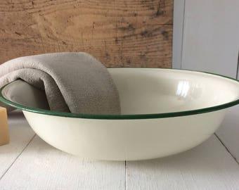 Enamel wash basin 50's.French Vintage Enamelware.White enameled basin green trim Enamelware Bowl French Farm.Rustic French shabby chic gift