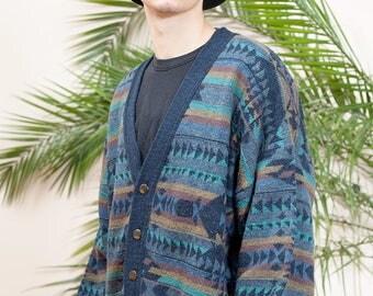90s Men's Cardigan•Vintage cardigan•90s Button up sweater•Vintage 1990s Knit Cardigan•Vintage Mens Cardigan•Men's Knit checkered jacket