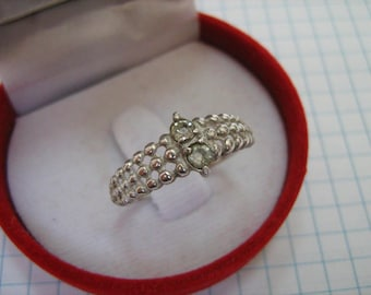 SOLID 925 Sterling Silver Ring 2 Two Stones Common Simple Everyday US size 8.75 Russian Ukrainian size 18.75 Granule Balls Vintage Old