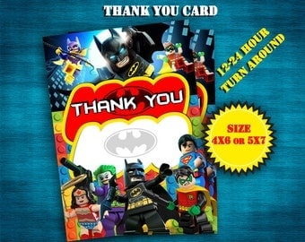 INSTANT DOWNLOAD, Lego Batman Thank you card, Lego Batman, Thank you card, personalized, DIY, Printable
