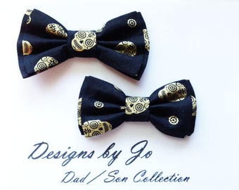 Bow Tie, Skeleton Bow Tie, Dad and Son Bow Tie,Black BowTie,Father Son Bow Ties,Mens Bow Tie,Groomsmen Bow Tie, Bowtie,Boys Bow Tie  DS691