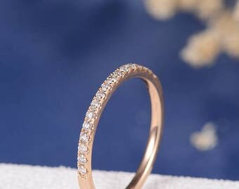 Half Eternity Diamond Wedding Band Women Rose Gold Bridal Ring Set Dainty Minimalist Everyday Anniversary Simple Stacking Ring Micro Pave