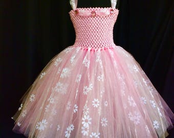 Pink princess tutu dress with white flowers, birthday dress, gift for her, tutu dress for girls, tulle tutu dress, princess dress, dress up