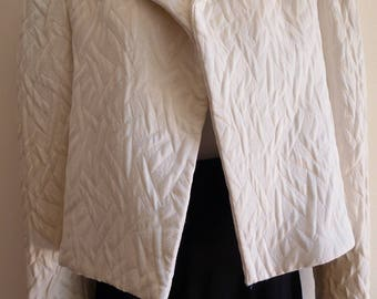 Saint Laurent white quilted open jacket