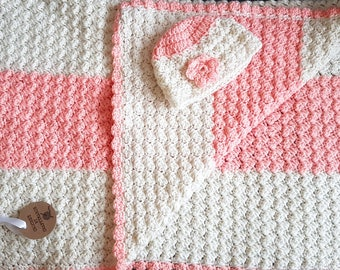 Pink and cream baby blanket and hat