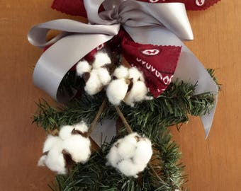 Small Cotton Christmas Swag, Ohio State colors Swag Decoration