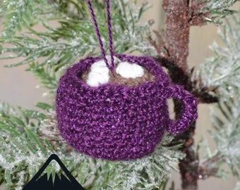 Crocheted Mug of Hot Chocolate Christmas Tree Ornament