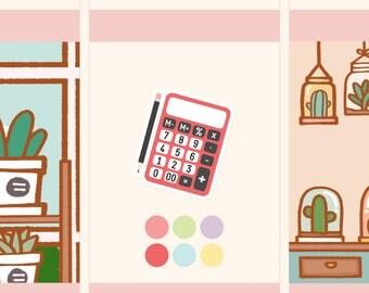 Cute Calculator Stickers,Kawaii calculator stickers,Budget stickers,Tax planning stickers, Financial management stickers (FI005)