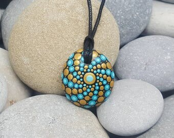 Turquoise & Gold Painted Necklace - Paint Rock - Mandala Rock - Turquoise Pendant - Mandala Art - Hand-Painted Pendant Stone - Chakra