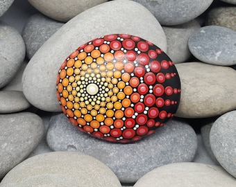 Painted Rock - Sunshine Mandala Stone - Meditation Mandala Rock - Mandala Art - Dotilism - Painted Stone