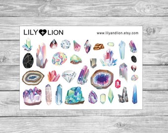 CRYSTAL planner sticker sheet - gems - crystals - quartz - diamonds - happy planner - erin condren - plum paper - diary