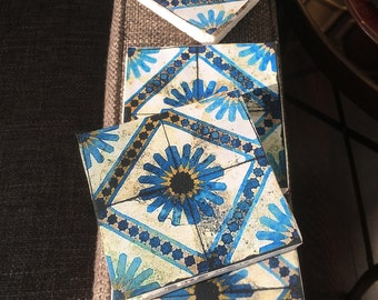 Aveah Tile Coasters- stone coasters, set of 4