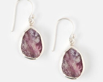 Pink Tourmaline earrings - Raw Pink Tourmaline earrings - Rough Pink Tourmaline earrings - Gemstone earrings - Raw Tourmaline - Rough Stone