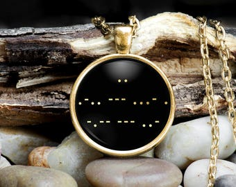 Morse Code Necklace, Morse Code I Love You, Morse Code Jewelry, Morse Code Message, Secret Message, Hidden Message, Gift for Her