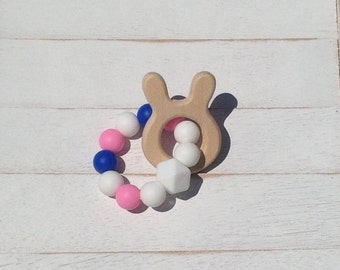 Bunny Natural Wood Teether Teething Ring baby toy baby shower gift chew toy oral sensory