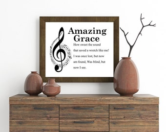 Amazing Grace, Christian Wall Art, Inspirational Home Decor, Hymn.
