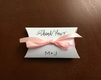 White FAVOR BOX  personalized with Bride & Groom initials, Light Pink ribbon