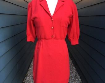 1980s St John Dress // St John for Saks Fifth Avenue // Vintage Red Dress