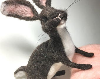 Needle Felted Bunny Rabbit, Wool Sculpture Animal, Handmade Nursery Decor Gift