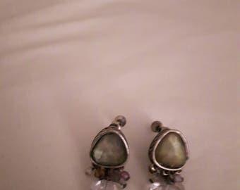 Vintage Green Rhinestone Silver Tone Dangle Earrings - Screw-back - 1970s