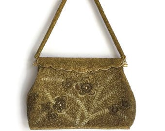Gold Beaded Evening Bag with Fold Over Piano Hinge Closure