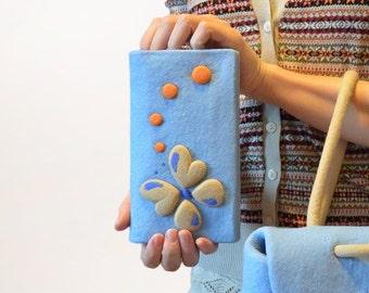 Blue Felt Light Wool Wallet Handmade, Hand Felted Wallet with Felt Butterfly