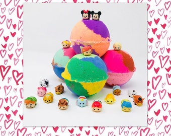 3 or 5 7.0 oz Mini Disney Tsum Tsum Inspired Bath Bomb Birthday / Easter Favor Party Sets Party Favor with Toy Figures