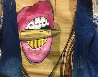 Lips and Teeth Mouth Hand Painted Denim Jacket - Women's Painted Jacket - GTA Inspired