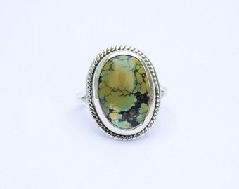 Turquoise Ring, Silver Ring, Natural Turquoise Silver Ring, Navajo Ring, 925 Sterling Silver Ring, Tibetan Ring, Gypsy Ring, Boho Ring