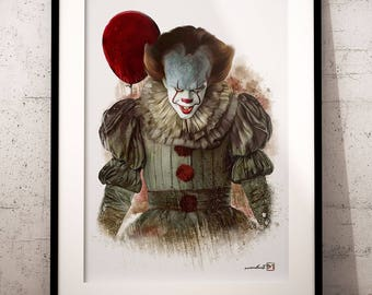 Clown Pennywise, Bill Skarsgard, Stephen Kings it, artwork, handmade, PRINTABLE art, poster, instant download, digital print, decor,wall art
