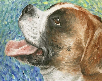 """Boxer Dog Art Print of Oil Painting - 8 x 10"""""""