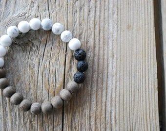 Essential oil diffuser bracelet yoga bracelet mala beads meditation beads yoga beads graywood frosted howlite lava beads