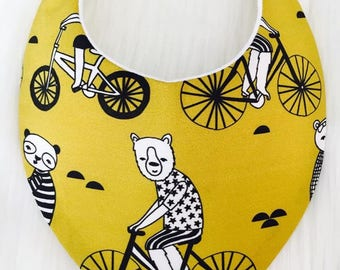 Bears on Bicycles Baby Bib, Bandana Bib, Dribble Bib, Baby Shower Gift, Newborn Gift, Baby Boy, Baby Girl