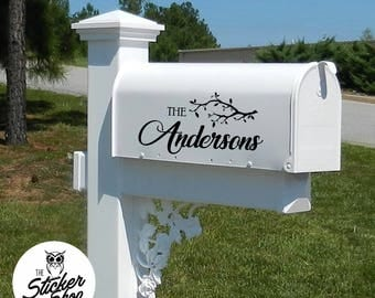 Mailbox Decal - Tree Design & Family Name
