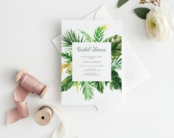 Printable Bridal Shower Invitation, Floral Shower Invite, Bride-to-be Invitations, Tropical, Greenery #R099