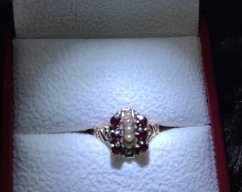 Antique Victorian Garnet and Pearl Ring