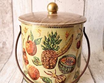 Vintage Baret Ware Biscuit Barrel In Design 'Plantation' - Retro Kitchen - Retro Tins